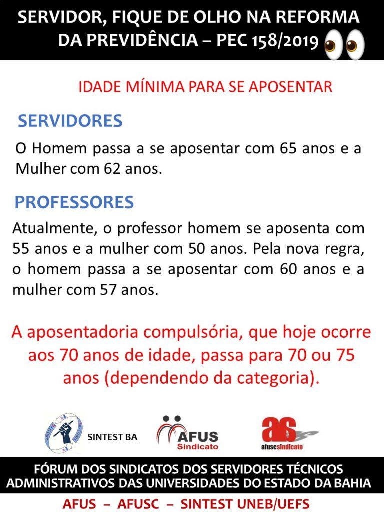 REFORMA DA PREVIDÊNCIA PEC 158/2019 – IDADE MÍNIMA PARA APOSENTADORIA
