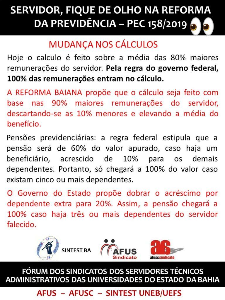 REFORMA DA PREVIDÊNCIA PEC 158/2019 – MUDANÇA NOS CÁLCULOS