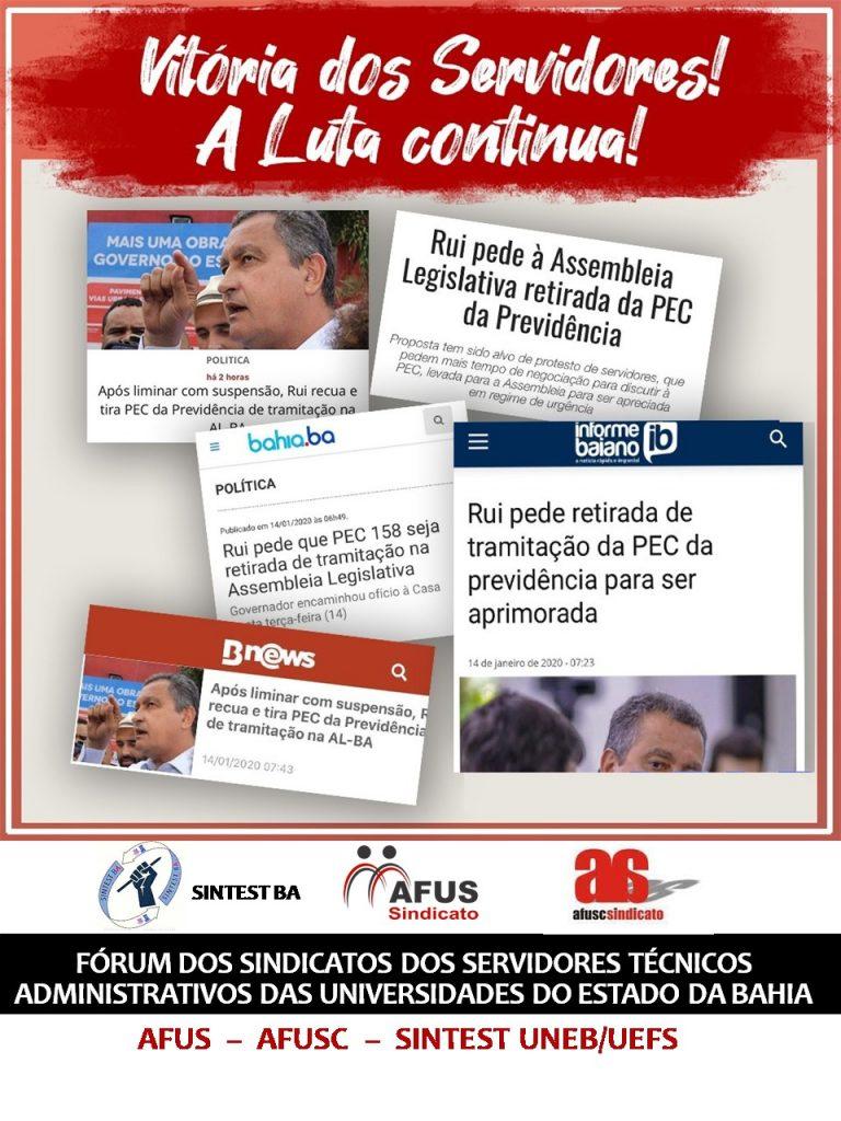 Governo recua e retira de pauta a PEC 158 da previdência de tramitação na Assembléia Legislativa da Bahia