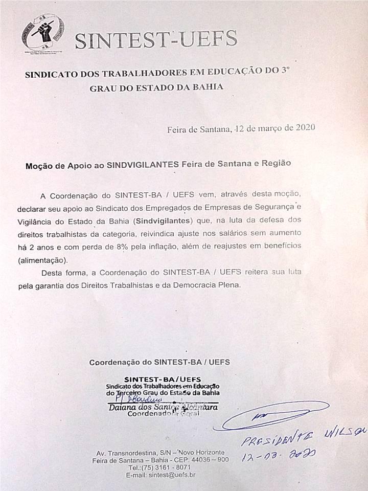 INFORME SOBRE SEGURANÇA NO CAMPUS E MOÇÃO DE APOIO AO SINDVIGILANTES