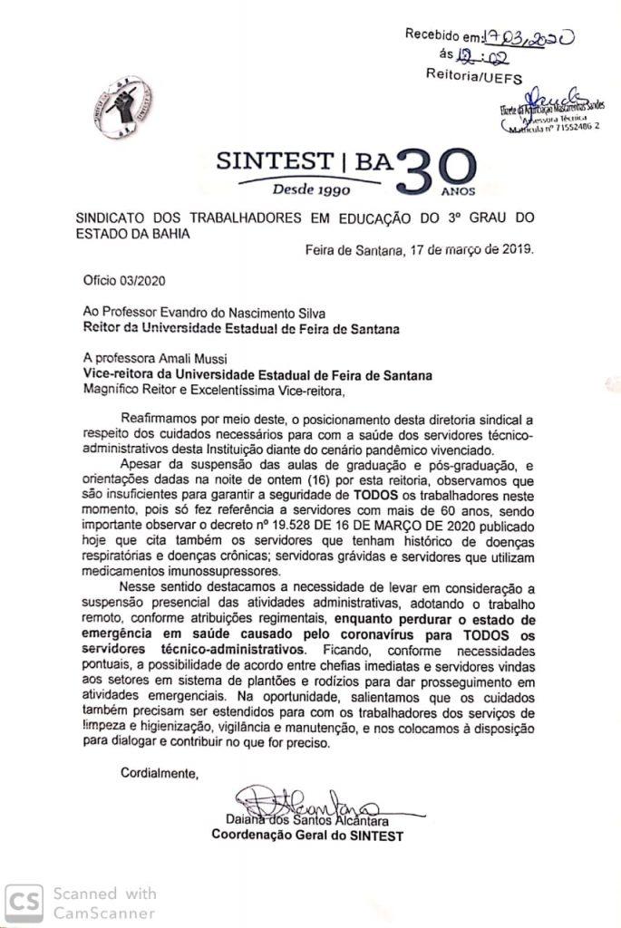SINTEST ENCAMINHA POSICIONAMENTO PARA ADMINISTRAÇÃO DA UEFS SOBRE AS ATIVIDADES ADMINISTRATIVAS