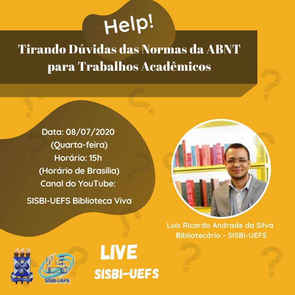 Coordenador de Educação e Formação Sindical do Sintest/Uefs, bibliotecário e servidor analista lotado na SISBI-UEFS, Luis Ricardo Andrade da Silva, fará live na quarta-feira (8/07). Acompanhe!