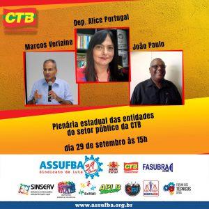 CTB-Bahia convoca entidades do setor público para plenária virtual na próxima terça-feira (29)