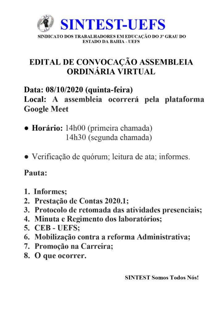 SINTEST/UEFS convoca categoria para assembleia ordinária virtual nesta quinta-feira (08/10)