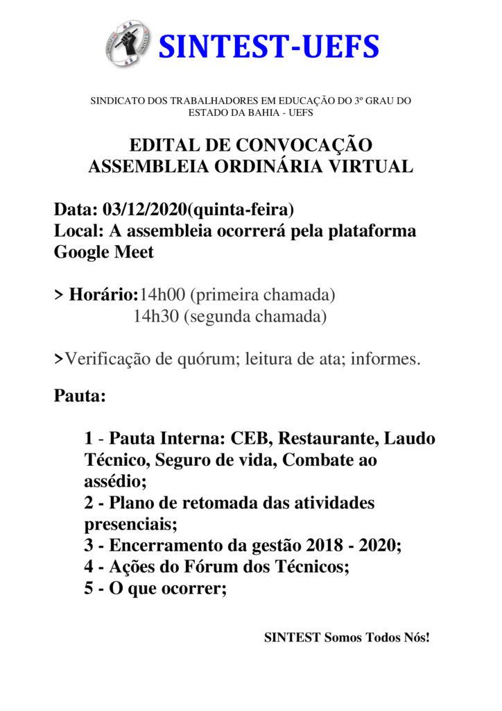 SINTEST-BA/UEFS CONVOCA CATEGORIA PARA ASSEMBLEIA ORDINÁRIA VIRTUAL NESTA QUINTA-FEIRA (03/12)