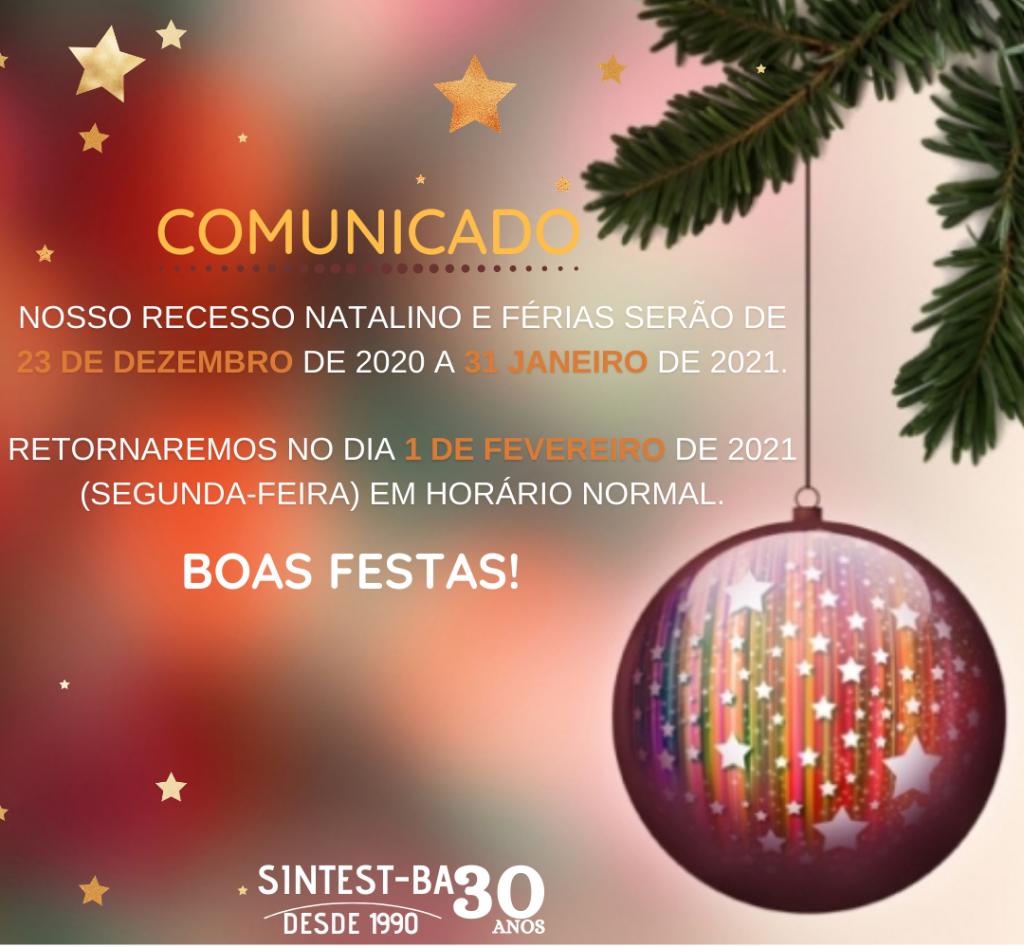 Comunicado: Recesso de fim de ano e férias do SINTEST/BA UEFS