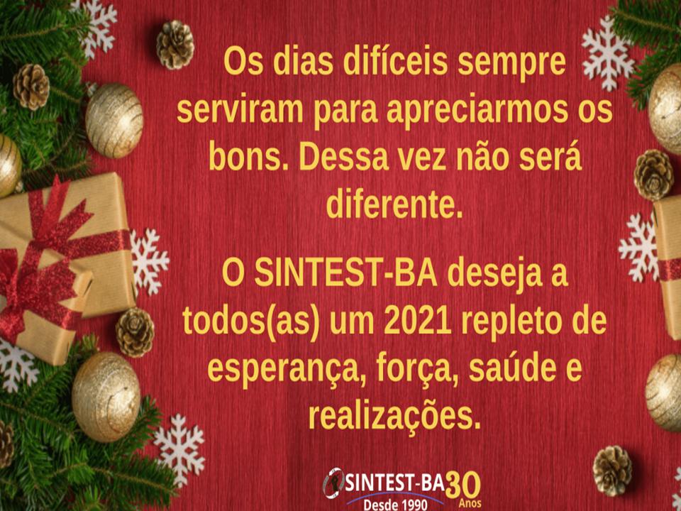 O SINTEST-BA deseja a todos(as) um Feliz Natal e um Próspero Ano Novo!