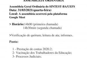 SINTEST-BA/UEFS CONVOCA CATEGORIA PARA ASSEMBLEIA ORDINÁRIA VIRTUAL NESTA QUARTA-FEIRA (31/03)