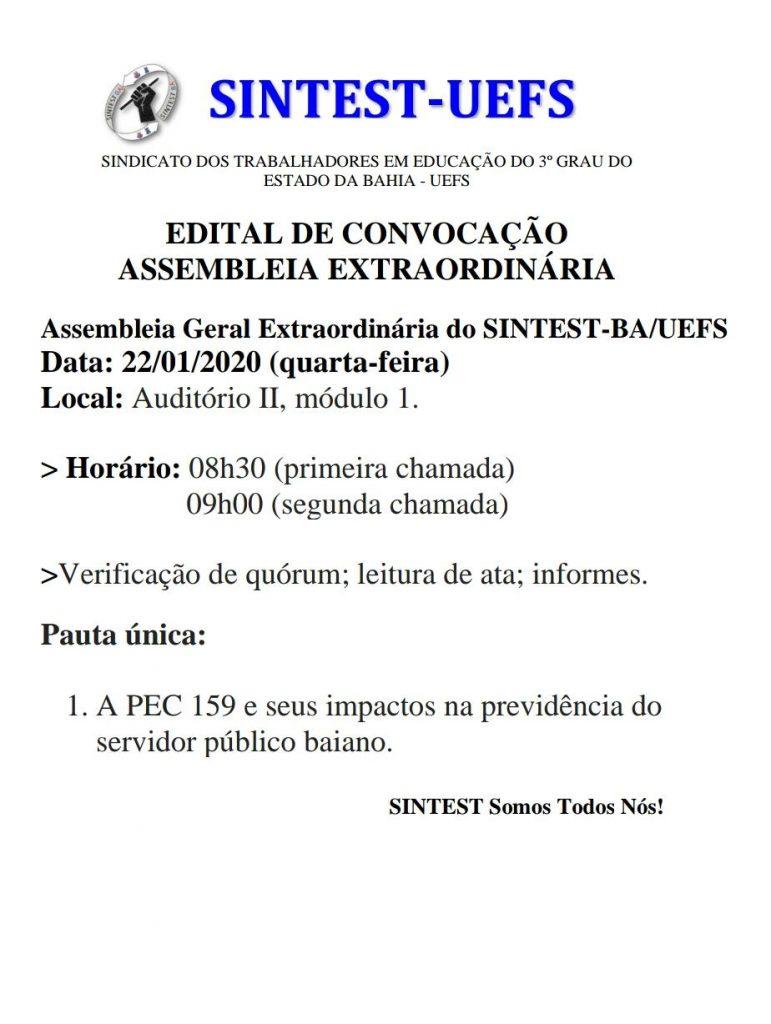 Nesta quarta – feira (22/01) tem assembleia geral extraordinária