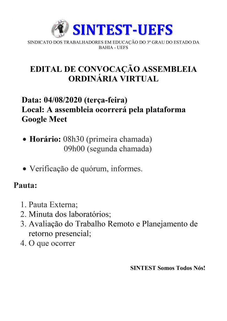 SINTEST/UEFS convoca categoria para assembléia virtual ordinária nesta terça-feira (04/08)