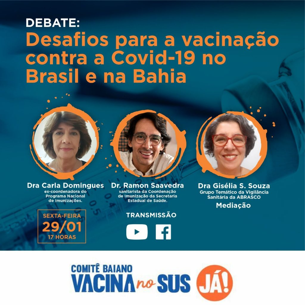 Comitê VACINA NO SUS JÁ realiza debate nesta sexta (29)