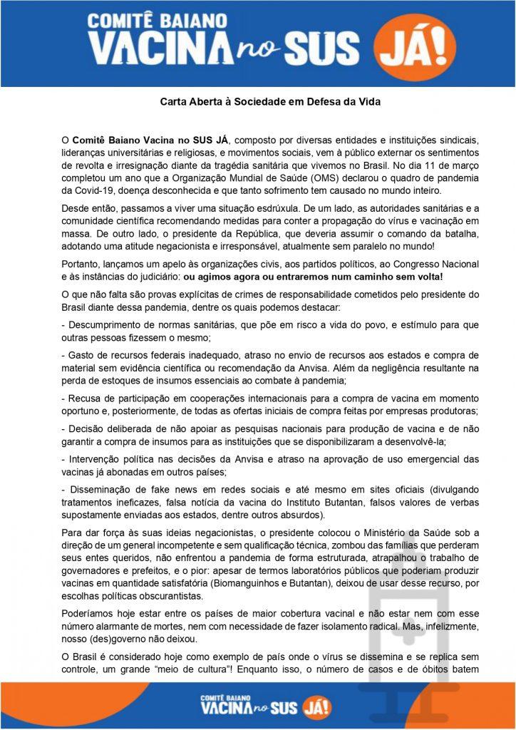 Carta Aberta à Sociedade em Defesa da Vida