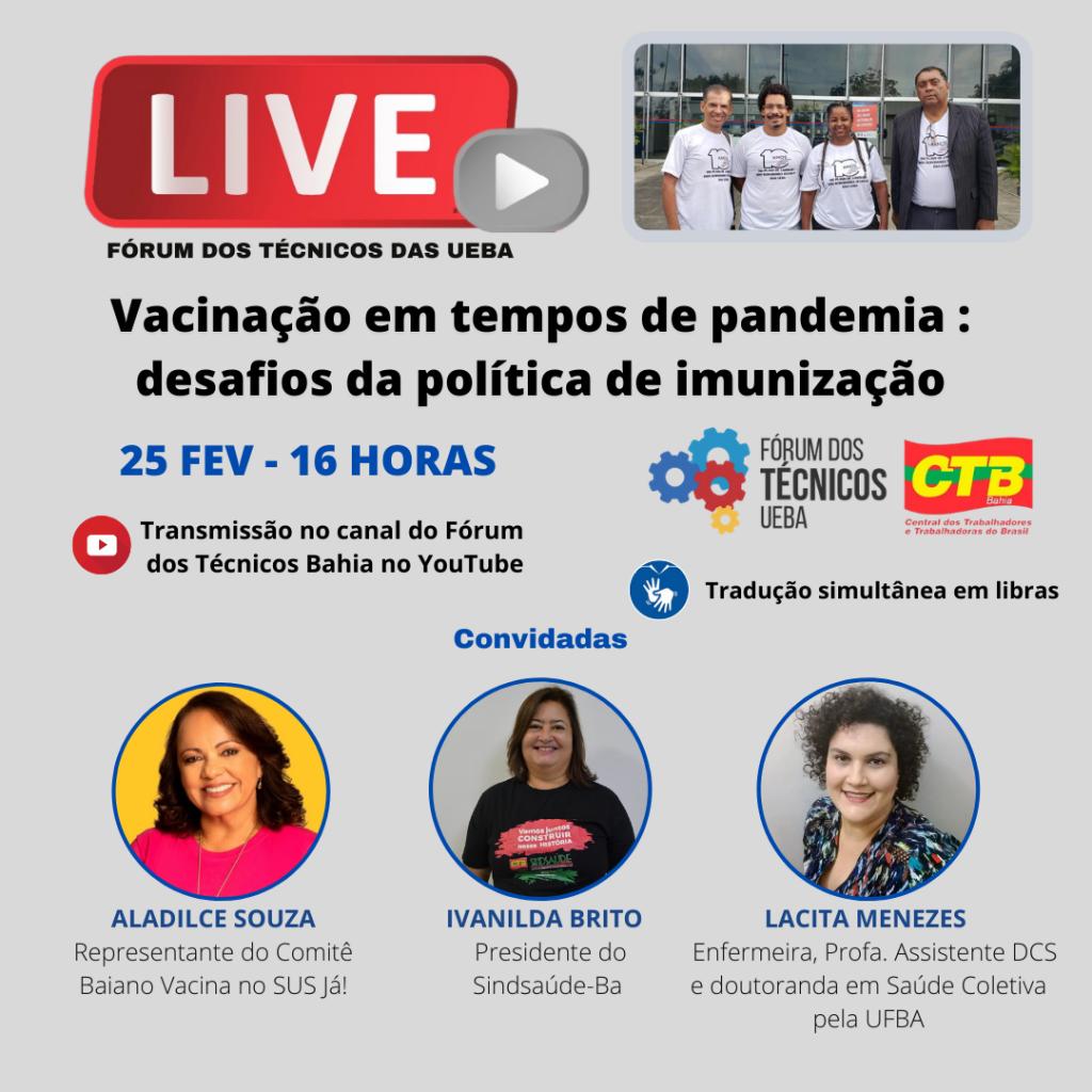 Vacinação em tempos de pandemia será tema debatido em live do Fórum dos Técnicos