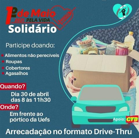 SINTEST promove Drive-Thru solidário em comemoração ao Primeiro de Maio