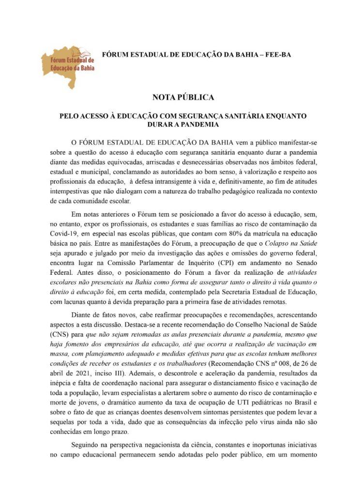 Nota Pública Feeba PELO ACESSO À EDUCAÇÃO COM SEGURANÇA SANITÁRIA ENQUANTO DURAR A PANDEMIA